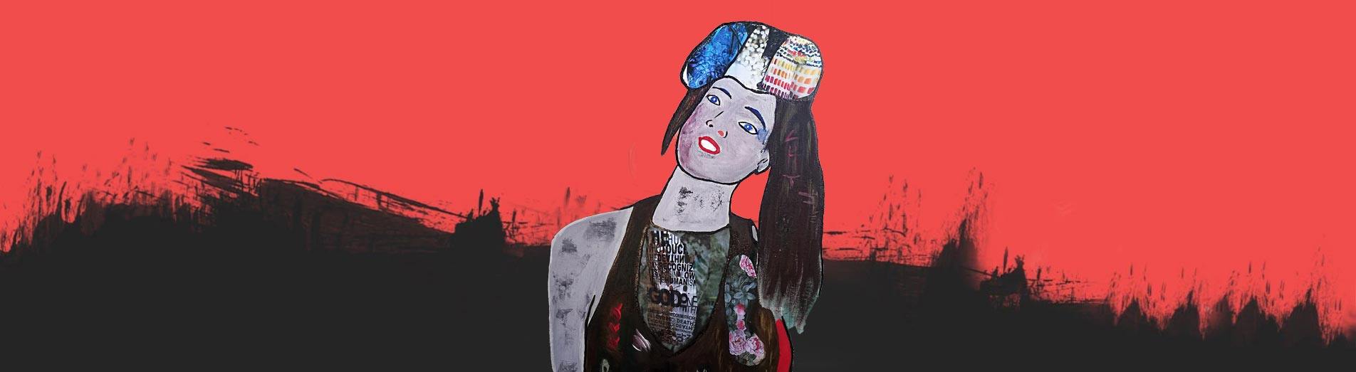 Miss 2020, mixed media, acrylic paint and collage on canvas, original artwork, dimensions: 80x60 cm, patrick Joosten,