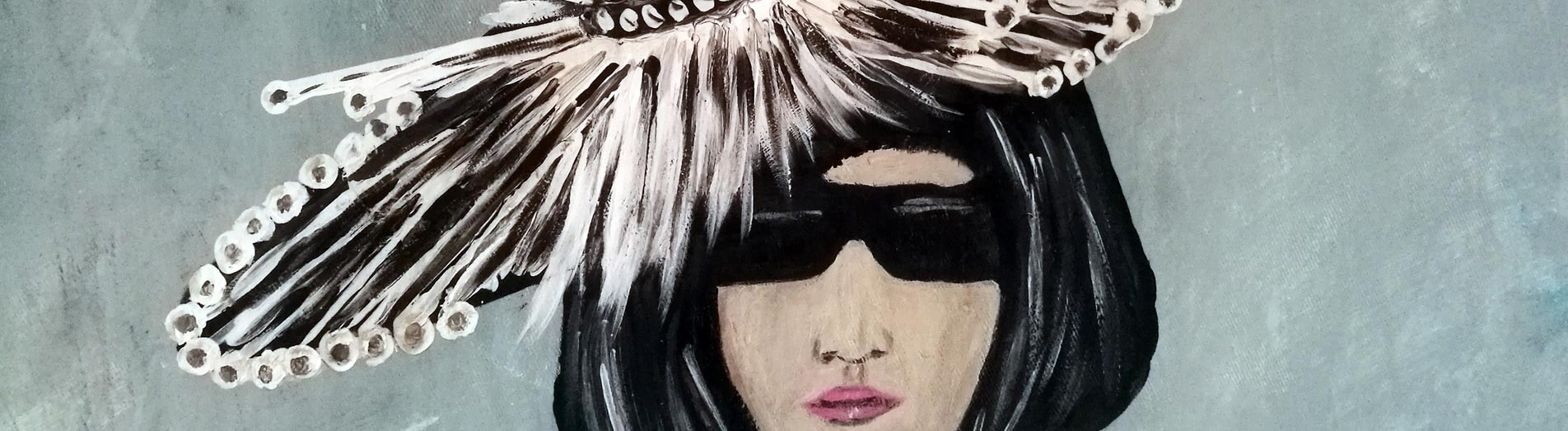 Catwalk-Lady with feathers, Vision of a fashionista on a Catwalk with a wonderful feathers dress.  Original artwork signed P. Joosten, Acrylic on canvas, Dimensions 150 x 100 x 3 cm, 160 x 110 cm with Black wooden frame.
